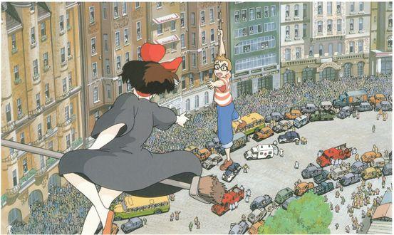 Обои Kiki / Кики на швабре спасает Tombo Koppoli в небе над городом из аниме Kikis Delivery Service / Ведьмина служба доставки, art by Hayao Miyazaki