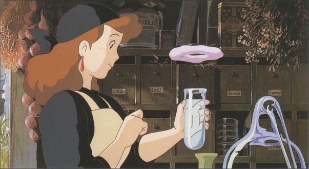 Обои Kokiri Okino проводит магические эксперементы из аниме Kikis Delivery Service / Ведьмина служба доставки, art by Hayao Miyazaki