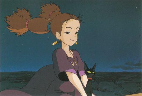 Обои Юная ведьма с черным котом летят на метле в вечернем небе из аниме Kikis Delivery Service / Ведьмина служба доставки, art by Hayao Miyazaki