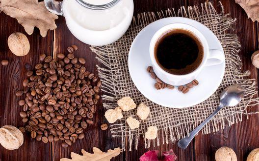 обои на рабочий стол осень кофе уют 15681