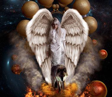 Обои Девушка - ангел стоит перед волком в огне