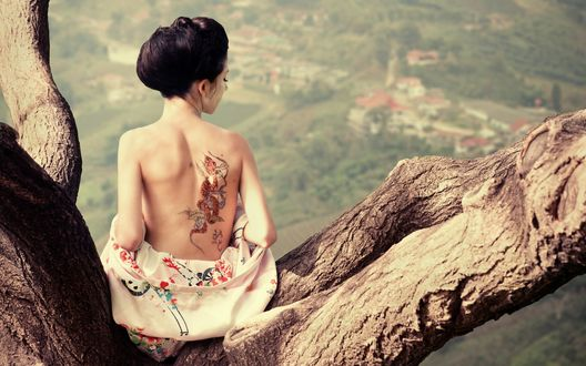 Обои Гейша с татуировкой на спине сидит на дереве