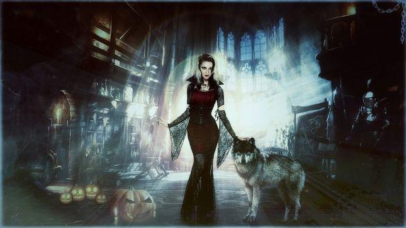 Обои Ведьма с волком на хэллоуин
