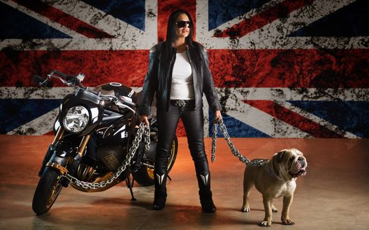 Обои Девушка с English bulldog / Английским бульдогом и байком на поводках, на фоне Английского флага