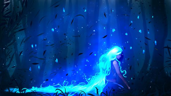 Обои Грустная девушка с очень длинными волосами в лесу, by ryky