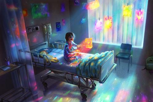 Обои Девочка, сидящая на больничной кровати, рисует яркие картинки, от которых исходит свет, by TamberElla