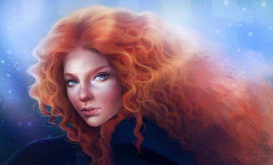 Обои Принцесса Мерида / Merida с удивленным лицом, мультфильм Храбрая сердцем / Brave, by Sandramalie
