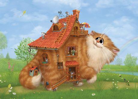Обои Котодом - мыши приспособили рыжего кота в качестве дома художник А. Долматов