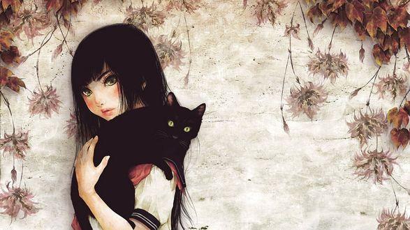 Обои Темноволосая девушка с зелеными глазами с черной кошкой на плече