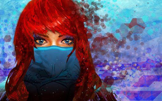 Обои Рыжеволосая девушка с завязанной платком нижней частью лица, на фоне цветной абстракции