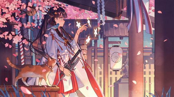 Обои Девушка в кимоно, у которой на плече сидит птичка и рядом кот, art by Nori (Pixiv4592232)