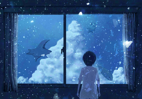 Обои Девочка смотрит в окно на морских обитателей в ночном небе, by うさたろす@