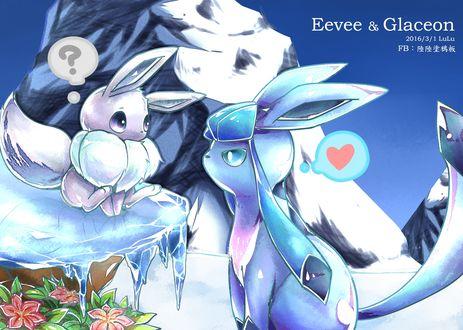 Обои Eevee / Иви и Glaceon / Гласеон из аниме Pokemon / Покемон, art by Pixiv Id 9966564