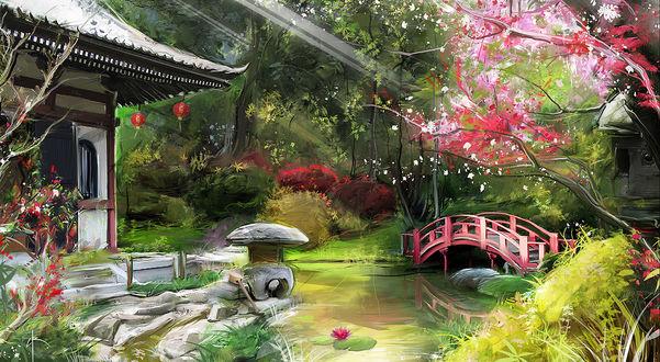 Обои Домик и небольшой мостик через реку в японском саду, Bruno Wagner