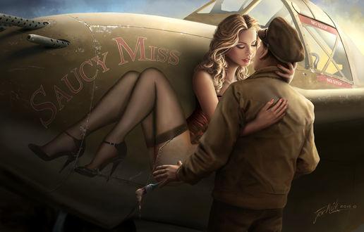Обои Парня обнимает нарисованная ожившая на самолете девушка, by Jacklionheart