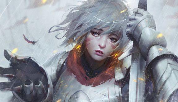 Обои Девушка с мечом стоит под дождем, ву GUWEIZ