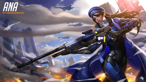 Обои Ана Амари из игры Overwatch / Дозор в женском образе, by Liang-Xing