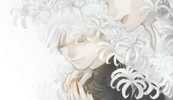 Обои Ken Kaneki / Кен Канеки из аниме Tokyo Ghoul / Токийский Гуль, art by Curry Gohan