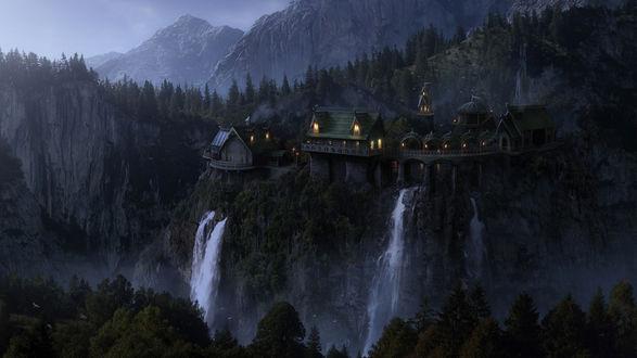 Обои Замок Элронда на горе с водопадами, Властелин колец: Братство Кольца