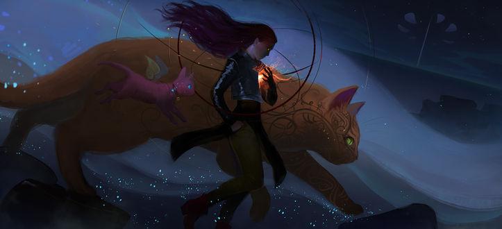 Обои Девушка со светящимися глазами, с пламенем в груди и две фантастических кошки куда-то торопятся, by anndr