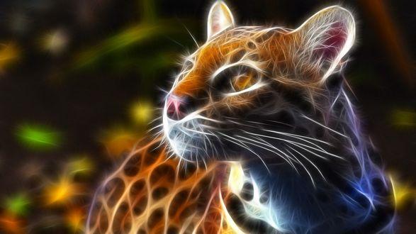 Обои Фрактальный оцелот / Leopardus pardalis
