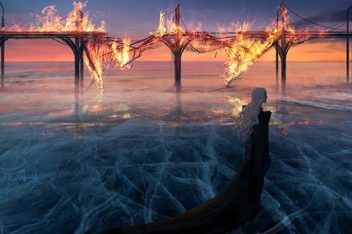 Обои Девушка стоит на фоне горящего моста, by anndr