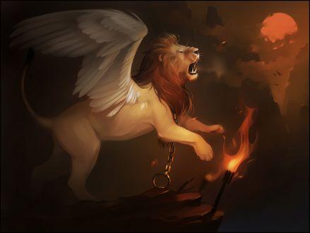 Обои Лев с крыльями прикованный к камню цепью, art by Darkness