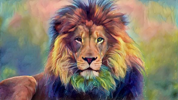 Обои Нарисованный красками лев