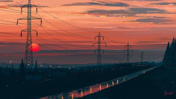 Обои Линии электропередач вдоль дороги на фоне красного солнца, by Aenami