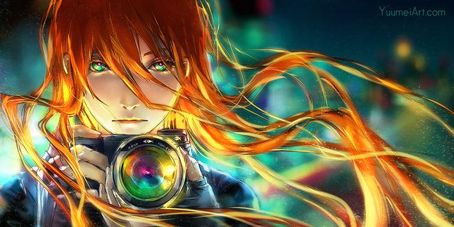 Обои Девушка с фотоаппаратом, by Yuu