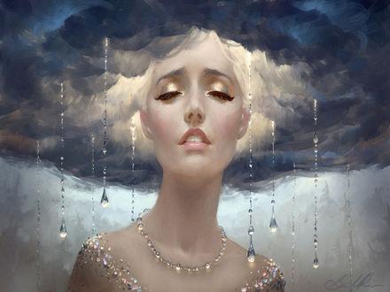 Обои Девушка в облаках в украшениях прикрыла глаза