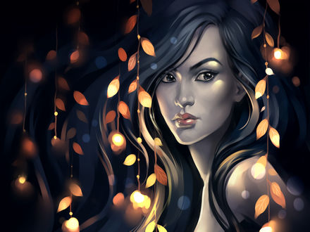 Обои Девушка брюнетка стоит в темноте в окружении огней и листьев