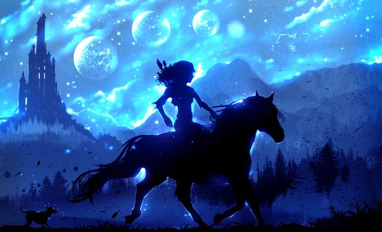 Обои Девушка на лошади и щенок бежит за ними, by ryky