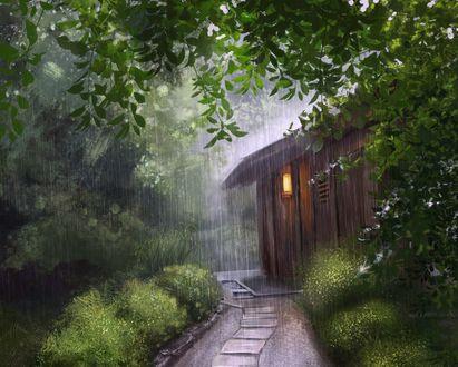 Обои Дорога ведет к деревянному домику под дождем, by Mandy Jurgens