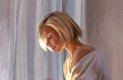 Обои Белокурая девушка в профиль, by Mandy Jurgens
