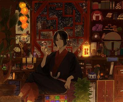 Обои Хозуки / Hoozuki сидит в комнате у окна с игрушкой в руке, аниме Хладнокровный Хозуки / Hoozuki no Reitetsu, art by Natsumi Eguchi