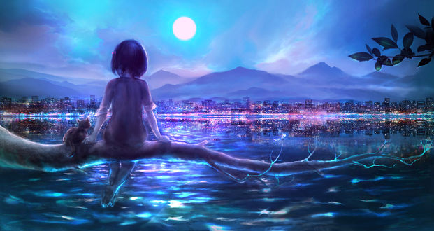 Обои Девочка с котенком сидит на стволе упавшего дерева над водой на фоне неба с луной