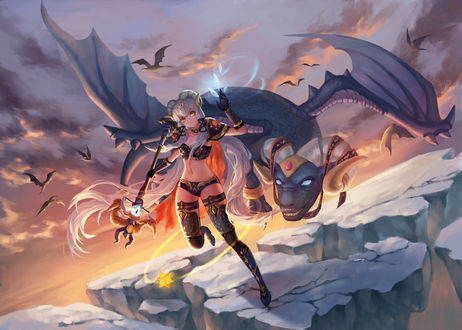 Обои Vocaloid Stardust / Вокалоид Стардаст с драконом, art by Pixiv Id 15880326