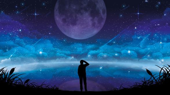 Обои Парень стоит на фоне ночного звездного неба и полной луны, by Erisiar