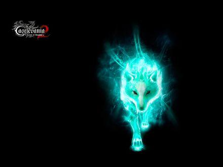 Обои Светящийся волк-оборотень на черном фоне из игры Castlevania: Lords of Shadow
