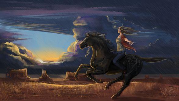 Обои Девушка расставив в сторону руки, скачет на лошади навстречу грозе, bu Fine Art America