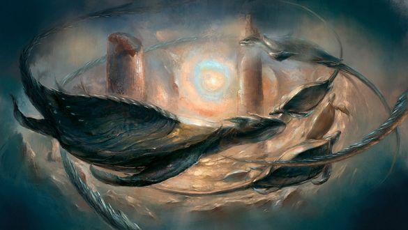 Обои Доисторические черепахи парят под водой, между колон затопленного города, сквозь толщу воды пробивается тусклый круг солнца
