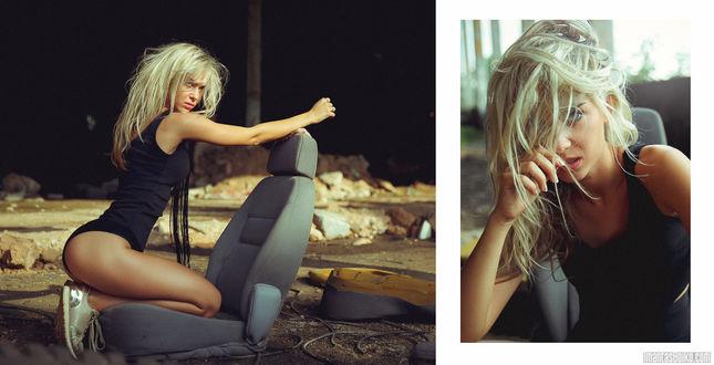 Обои Девушка - блондинка в черном купальнике, фотограф Imantas Boiko