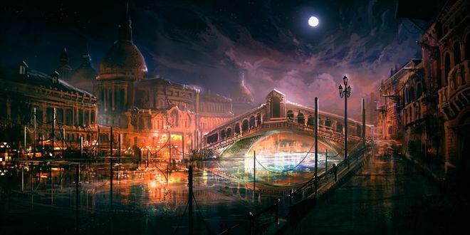 Обои Канал с мостом и набережной в ночной Венеции, Италия