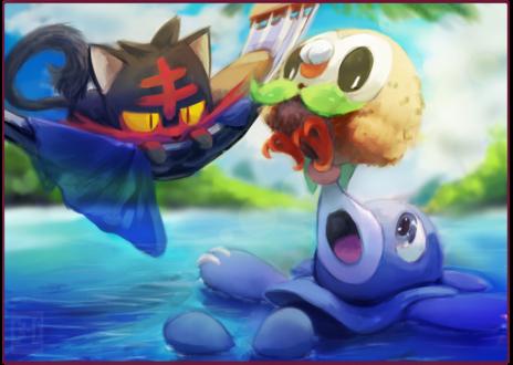 Обои Popplio / Попплио, Litten / Литтен и Rowlet / Роулет из игры Pokemon / Покемон, by 3-i