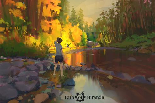 Обои Девочка стоит с игрушкой в руке на реке, по берегам которой растут осенние листья, высматривая пингвина, который рыбачит, by snatti89