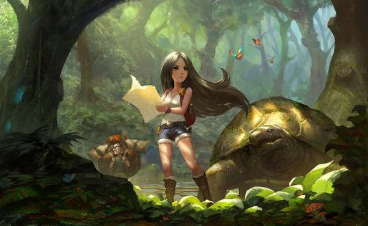 Обои Девочка стоит рядом с большой черепахой в лесу, by puz lee