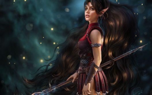 Обои Длинноволосая эльфийка с магическим посохом в руке