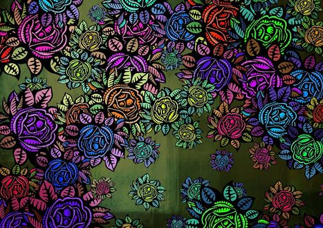 Обои Рисованные разноцветные розы