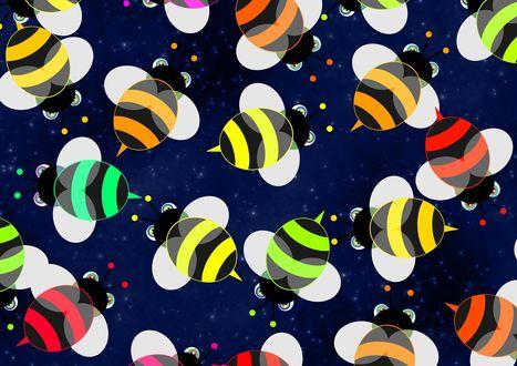 Обои Множество разноцветных пчел